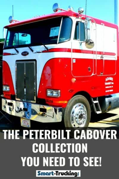 Red and White Peterbilt Cabover Truck