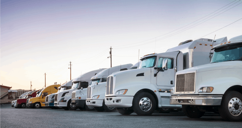 Row of White Fleet Big Rig Trucks