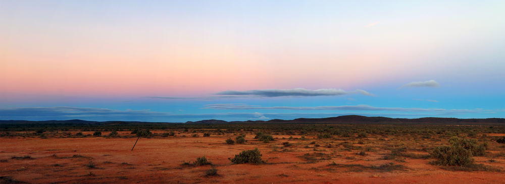 Australian outback panorama, at sunset. Outside Broken Hill, in far western New South Wales