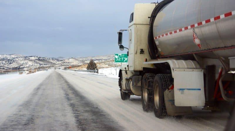 Tanker truck on winter roads