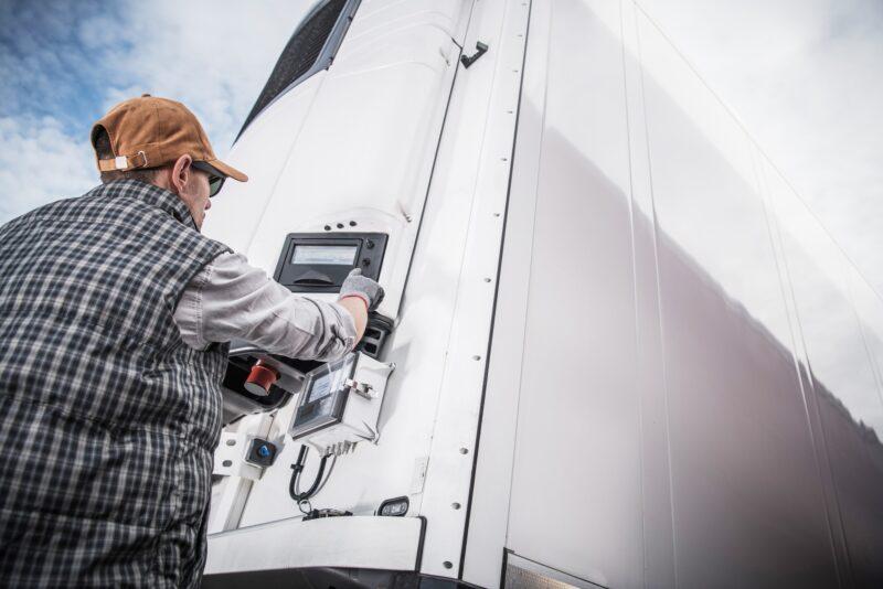 Truck Driver opening trailer doors