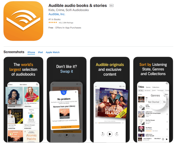 Audible Audio Books + Stories App Good For Truckers