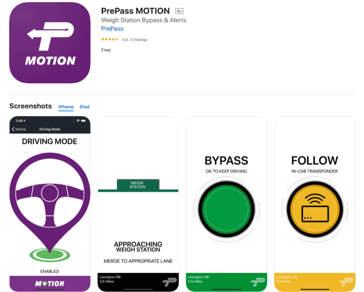 PrePass Motion App for the Professional Truck Driver