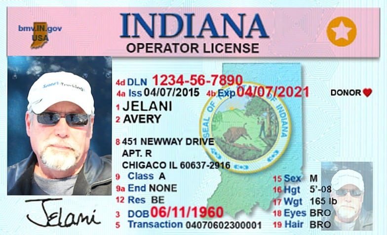 CLASS A CDL LICENSE FROM STATE OF INDIANA