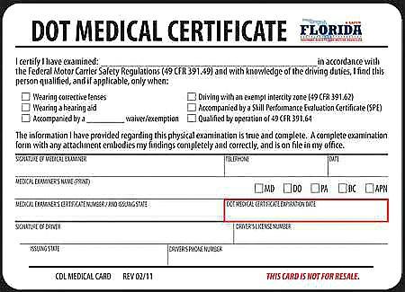 DOT Medical Card